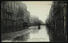 Inondations de Janvier 1910 - Le Boulevard national submergé 92 Clichy