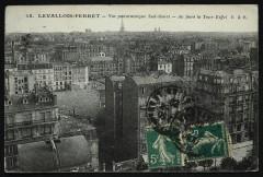 Vue panoramique Sud Ouest - Au fond la Tour Eiffel - Levallois-Perret