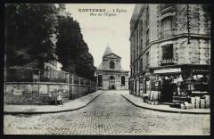 La rue de l'Eglise et l'église - Nanterre