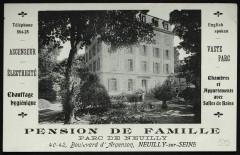 Pension de famille, parc de Neuilly - Neuilly-sur-Seine