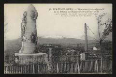 Monument commémoratif de la Bataille de Buzenval (19 janvier 1871) La Fouilleuse - Le Champ de courses de St Cloud - Au loin, le fort du Mont-Valérien - Rueil-Malmaison