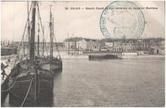 Postcard- Calais - Bassin Ouest et Vue Generale du Quartier Maritime, sent March 1915  - Calais