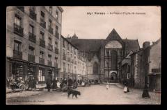 Carte postale ancienne de la place et de l'église Saint-Germain de Rennes - Rennes