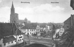 Strassburg Rabenbrücke (Pont du Corbeau, état ancien, avec tramway ancien) - Strasbourg