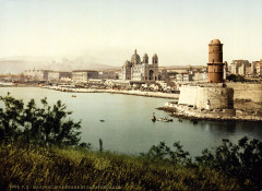 Flickr - …trialsanderrors - Lighthouse and cathedral, Marseille, France, ca. 1895 - Marseille 7e Arrondissement