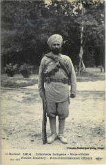 1914 French postcard of a Sikh Havaldar at Marseille, in the early days of the First World War France