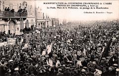 Champagne Troyes manifestation du 9 avril 1911 - Troyes