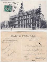 Valenciennes Hôtel de Ville, carte postale voyagée 1913 - Valenciennes