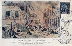 Ruines en feu de la rue de l'hôpital