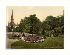 Steinbach Square and protestant church Mulhausen Alsace Lorraine Germany - Mulhouse