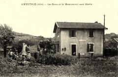 Carte postale ancienne - Ambutrix (gare et monument aux morts) - Ambutrix
