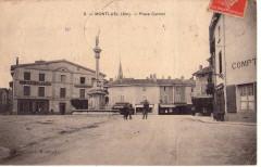 Carte postale ancienne - Place Carnot à Montluel (Ain, France) - Montluel