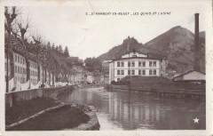 Carte postale ancienne - quais et usine à Saint-Rambert-en-Bugey - Saint-Rambert-en-Bugey