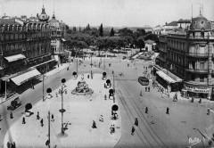 Chemins de fer de l'Hérault - Montpellier Place de la Comédie et gare de l'Esplanade 1949 - Montpellier