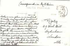Postcard from Margaret Ripley to her mother, sent 24 January 1915  - Bergues