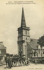 Pommerit-le-Vicomte - Clocher de l'église paroissiale - Pommerit-le-Vicomte