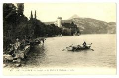 Haute-Savoie Lac d' Annecy Duingt Le Port et le Château barque animé - Annecy