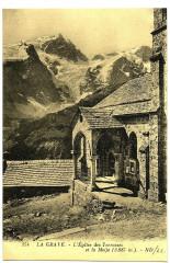 Hautes-Alpes La Grave l' Eglise des Terrasses et la Meije - La Grave