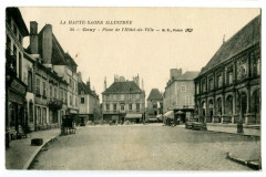 Haute-Saône Gray Place de l'Hôtel-de-Ville animé - Gray