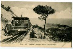 Alpes-Maritimes La turbie Chemin de fer à crémaillère animé - La Turbie