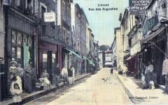 Limoux Rue Des Augustins (CLICHE Superbe Belle Cpa Animee  (cpa toilée) - Limoux