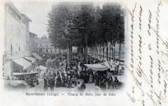 Saint Girons Champ de Mars jour de Foire (dos non divisé) (belle animatio - Saint-Girons