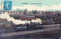 Chagny Vue Panoramique (cpa toilée émaillée) Train En Marche - Chagny