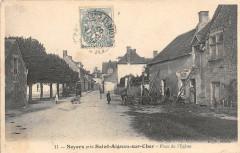 Noyers Pres Saint Aignan La Place De L'Eglise (animée (Scan Recto Verso - Saint-Aignan
