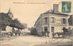 Breuilpont Le Carrefour Et La Place De L'Eglise (cpa animée) - Breuilpont