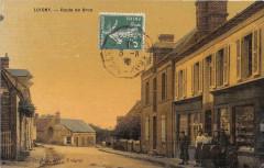 Luigny Route De Brou (cpa toilée émaillée) cpa pas courante - Luigny