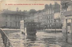 Nantes Les Inondations Decembre 1910 La Place Du Commerce (Tramway Gros P - Nantes