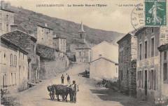 Grenier Montgon La Grande Rue Et Eglise (Attelage Boeuf - Grenier-Montgon