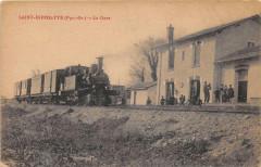 Saint Hippolyte La Gare (cpa exceptionnelle avec le train venant du coté - Saint-Hippolyte