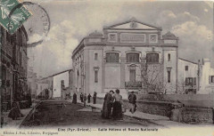 Elne Salle Helena Et Route Nationale (cpa émaillée rare - Elne