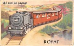 Royat Jolie Cpa A Systeme Avec Plusieurs Vues Figurant Un Train OH! Quel - Royat