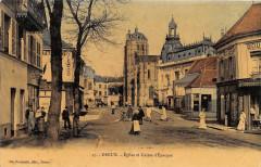 Dreux Eglise Caisse Epargne (belle cpa animée glacée - Dreux