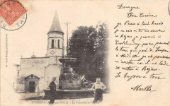 Dourgne La Fontaine Et Eglise (dos non divisé) - Dourgne