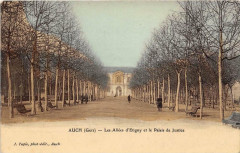 Auch Les Allees D'Etigny Et Le Palais De Justice (cpa glacée - Auch