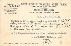 Societe Nationale Des Chemins De Fer Francais Region Du Nord Service Recl - Hem