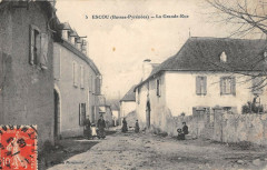 Escou La Grande Rue (cpa rare - Escou