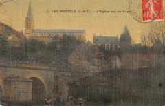 Les Montils L'Eglise Vue Du Pont (cpa toilée - Les Montils