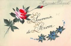 Riom Cpa Peinte A La Main Heureuses Paques Souvenir De Riom - Riom