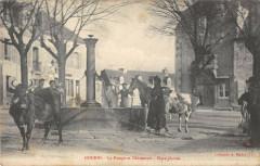 Gourin La Pompe Et L'Abreuvoir Place Plantee - Gourin