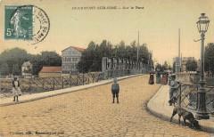 Beaumont Sur Oise Sur Le Pont (cpa toilée colorisé - Beaumont-sur-Oise