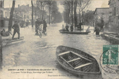 Choisy Le Roi Inondations 1910 L'Avenue Victor Hugo Sauvetages Voitures - Choisy-le-Roi