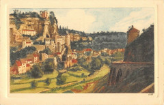 Cpa Illustrateur Rocamadour Vue Generale Cote Ouest - Rocamadour