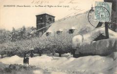 Samoens La Place Et L'Eglise En Hiver - Samoëns