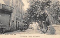 Tresques Place De La Mairie (cliché rare Cafe Bousquet - Tresques