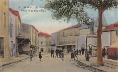 Puisserguier Place De La Republique (cpa animée) - Puisserguier