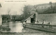Saint Clair Sur Epte Le Lavoir De La Grande Rue (cpa animée) - Saint-Clair-sur-Epte